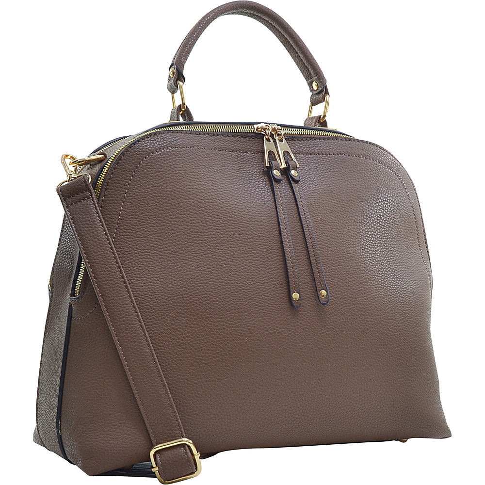 Dasein Buffalo Faux Leather Dome Satchel Brown - Dasein Manmade Handbags - Handbags, Manmade Handbags