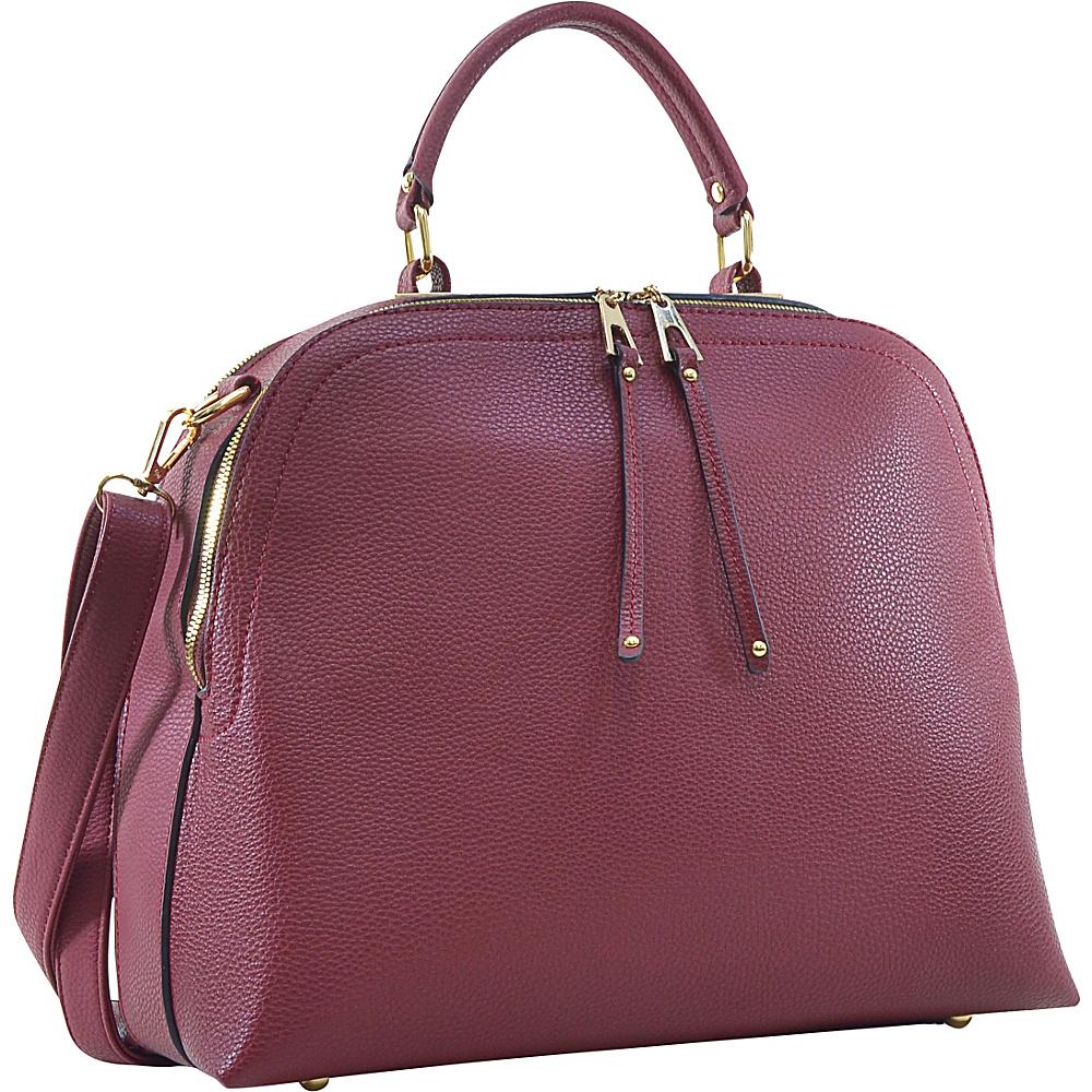 Dasein Buffalo Faux Leather Dome Satchel Maroon - Dasein Manmade Handbags - Handbags, Manmade Handbags
