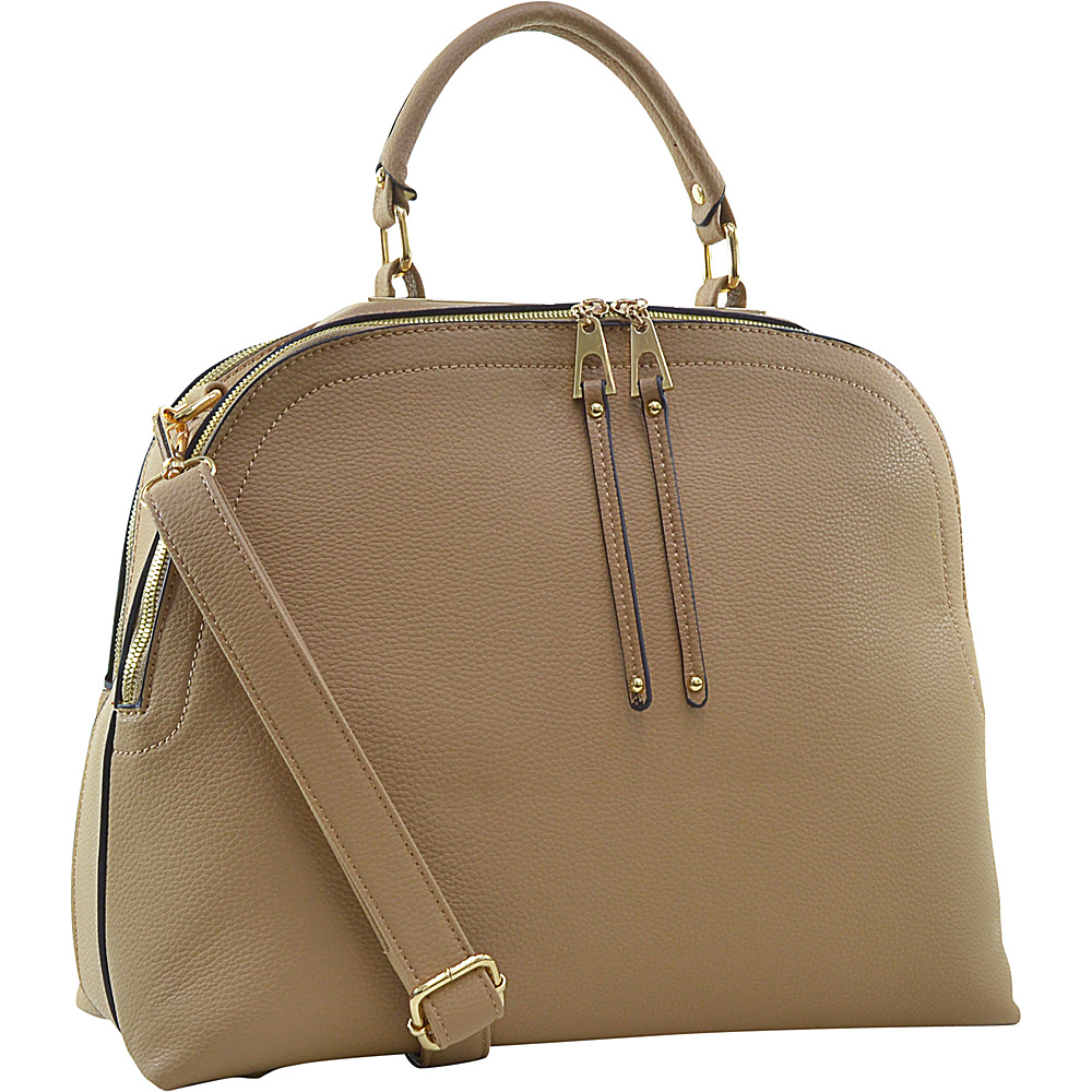 Dasein Buffalo Faux Leather Dome Satchel Nude - Dasein Manmade Handbags - Handbags, Manmade Handbags
