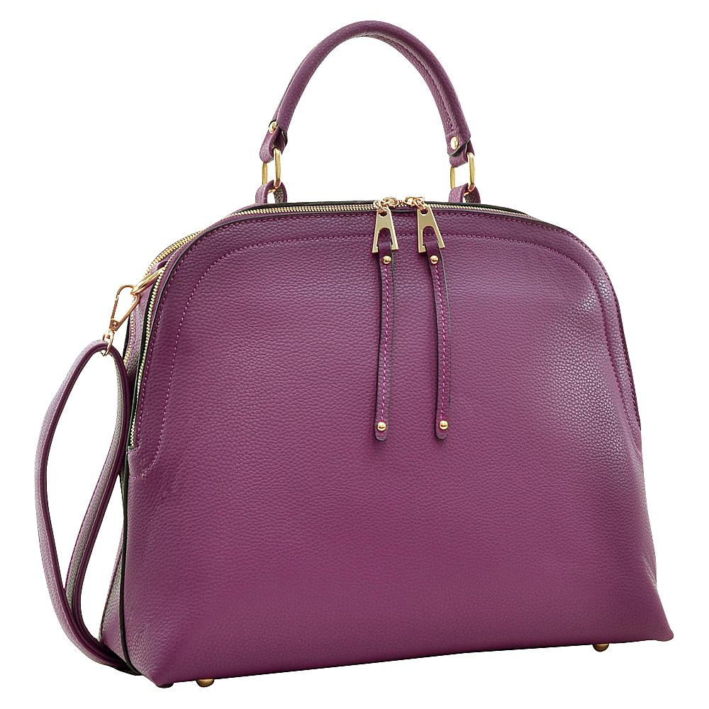 Dasein Buffalo Faux Leather Dome Satchel Purple - Dasein Manmade Handbags - Handbags, Manmade Handbags