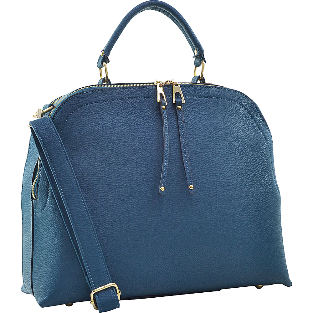 Dasein Buffalo Faux Leather Dome Satchel Teal - Dasein Manmade Handbags - Handbags, Manmade Handbags