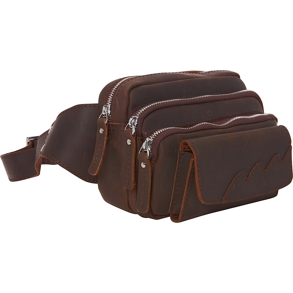 Vagabond Traveler Fashion Cowhide Leather Waist Packs Dark Brown - Vagabond Traveler Waist Packs - Backpacks, Waist Packs