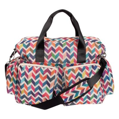 Trend Lab French Bull Ziggy Multi-Colored Chevron Deluxe Duffle Diaper Bag Ziggy Multi - Trend Lab Diaper Bags & Accessories