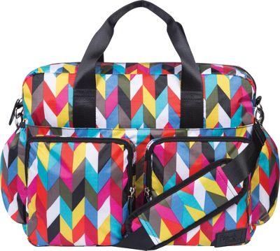 Trend Lab French Bull Ziggy Multi-Colored Chevron Deluxe Duffle Diaper Bag Ziggy Multi - Trend Lab Diaper Bags & Accessories