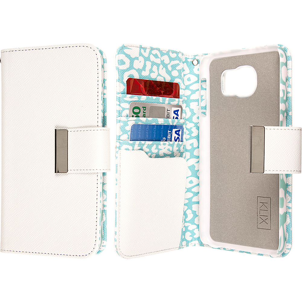 EMPIRE KLIX Klutch Designer Wallet Case for Samsung Galaxy S6 Mint Leopard EMPIRE Electronic Cases