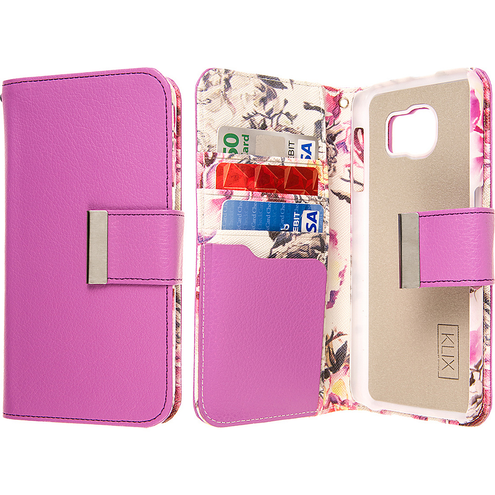 EMPIRE KLIX Klutch Designer Wallet Case for Samsung Galaxy S6 Pink Faded Flowers EMPIRE Electronic Cases