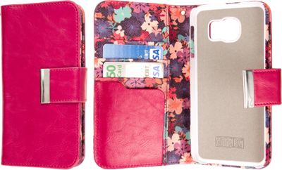 EMPIRE KLIX Klutch Designer Wallet Case for Samsung Galaxy S6 Hot Pink Flower Garden - EMPIRE Electronic Cases