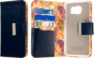 EMPIRE KLIX Klutch Designer Wallet Case for Samsung Galaxy S6 Navy Blue Butterfly - EMPIRE Electronic Cases