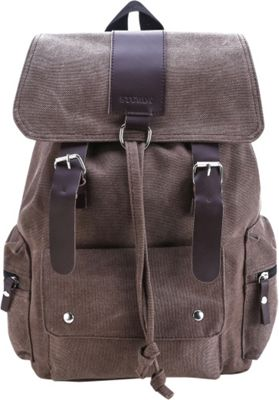 Something Strong Flapover Style Backpack With Leather Straps Brown - Something Strong Everyday Backpacks