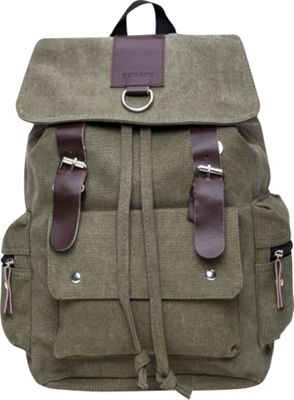 Something Strong Flapover Style Backpack With Leather Straps Olive - Something Strong Everyday Backpacks