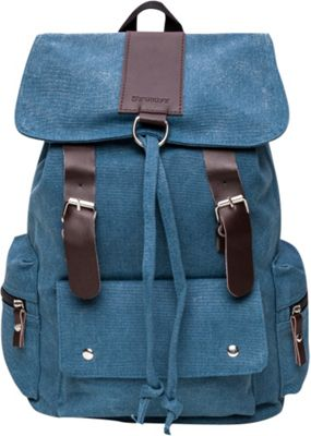 Something Strong Flapover Style Backpack With Leather Straps Blue - Something Strong Everyday Backpacks