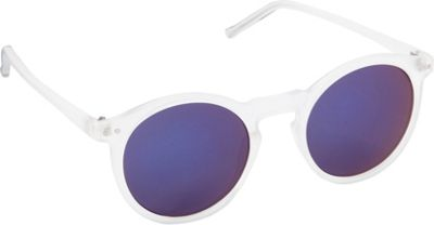 POP Fashionwear Retro Fashion Round Sunglasses Clear/Blue Mirror Lens - POP Fashionwear Sunglasses