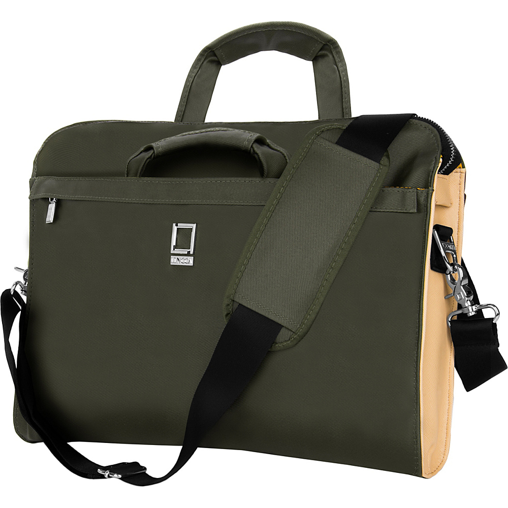 Lencca Capri Messenger Shoulder Bag for 14 15 Devices Olive Lencca Non Wheeled Business Cases