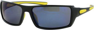 CB Sport Plastic Wrap Sunglasses Black with Yellow Rubber and Blue Flash Mirror Len - CB Sport Sunglasses