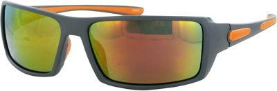 CB Sport Plastic Wrap Sunglasses Gray with Orange Rubber and Red Flash Mirror Lense - CB Sport Sunglasses