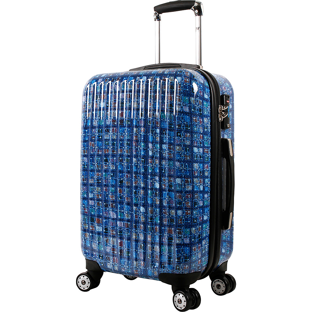 J World New York Titan 20 inch Polycarbonate Carry-on Art Luggage Logics Blue - J World New York Hardside Carry-On - Luggage, Hardside Carry-On