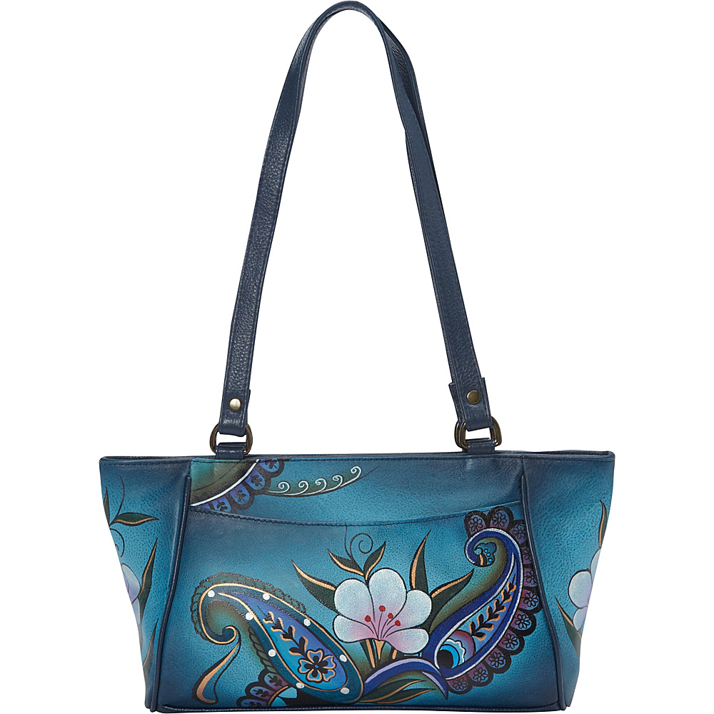 ANNA by Anuschka Hand Painted East West Small Tote Denim Paisley Floral ANNA by Anuschka Leather Handbags