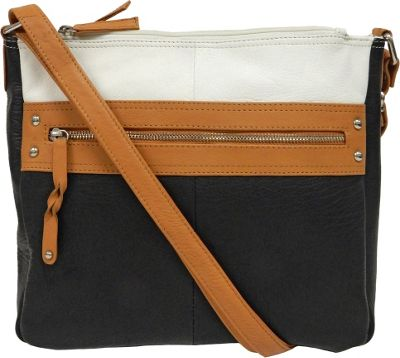 Great American Leatherworks Braid Accents Crossbody Black/White - Great American Leatherworks Leather Handbags