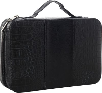 Goodhope Bags Deluxe Croc Leather Cosmetic Case Black - Goodhope Bags Women's SLG Other
