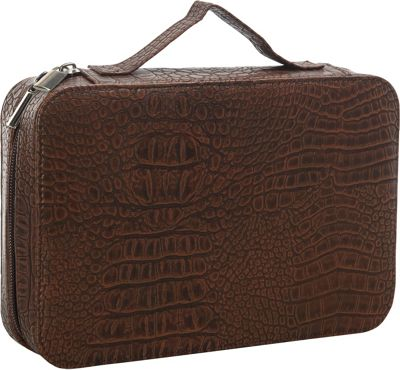 Goodhope Bags Deluxe Croc Leather Cosmetic Case Brown - Goodhope Bags Women's SLG Other