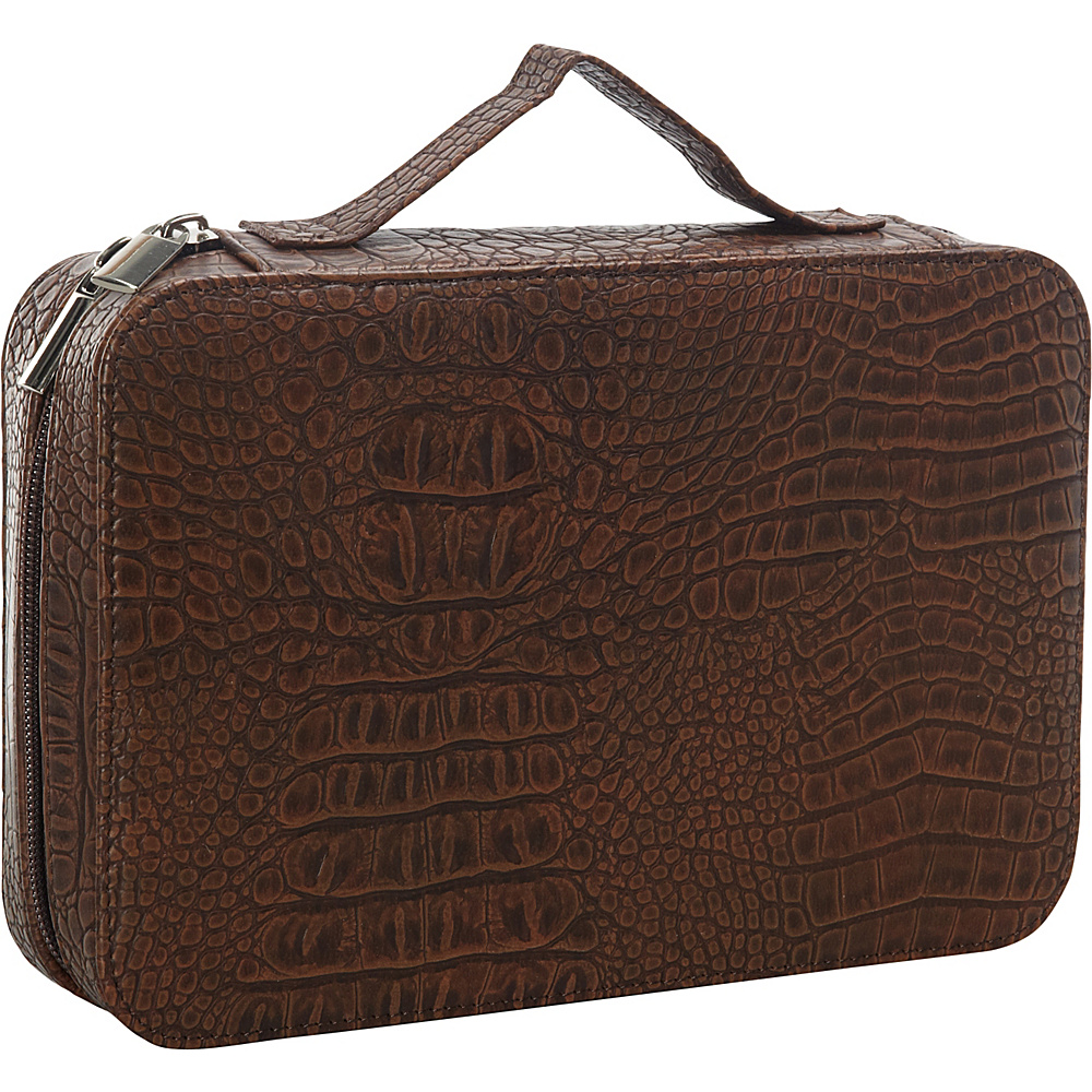 Goodhope Bags Deluxe Croc Leather Cosmetic Case Brown Goodhope Bags Women s SLG Other