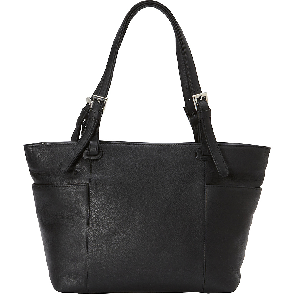 Derek Alexander Med Tote Three Compartment Tablet Friendly Black - Derek Alexander Leather Handbags - Handbags, Leather Handbags