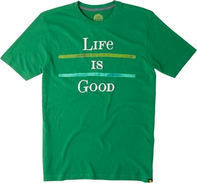 Life is good Men's Creamy Tee L - Emerald Green - Two Stripe - Life is good Men's Apparel