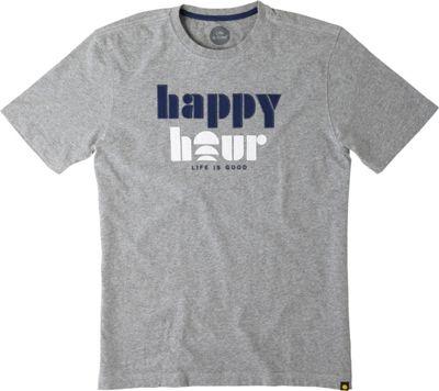 Life is good Men's Creamy Tee L - Heather Gray - Happy Hour - Life is good Men's Apparel