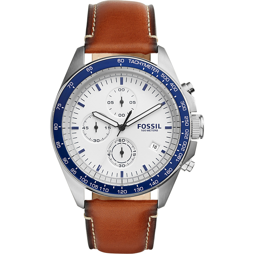 Fossil Sport 54 Chronograph Leather Watch Brown/Navy - Fossil Watches - Fashion Accessories, Watches