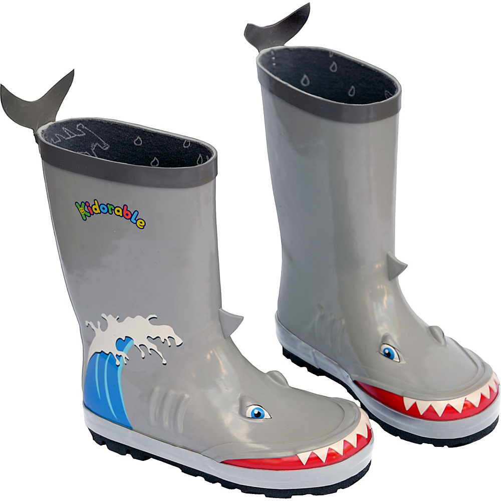 Kidorable Shark Rain Boots 2 (US Kids) - M (Regular/Medium) - Grey - Kidorable Mens Footwear - Apparel & Footwear, Men's Footwear