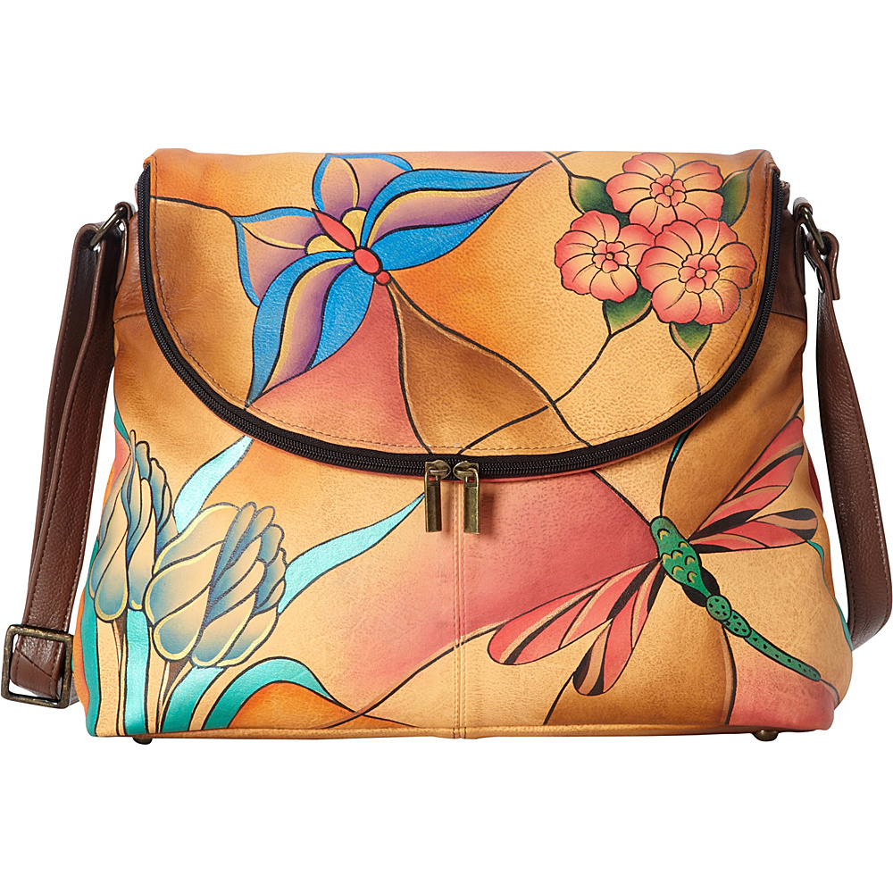ANNA by Anuschka Hand Painted Large Flap bag Jewelled Wing ANNA by Anuschka Leather Handbags
