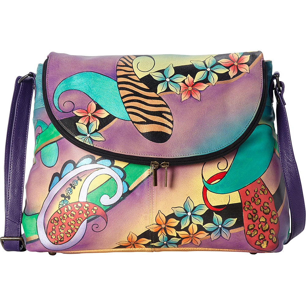 ANNA by Anuschka Hand Painted Large Flap bag Paisley Collage Eggplant ANNA by Anuschka Leather Handbags
