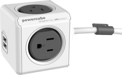 PowerCube Extended USB Cable And Adapter Trolley Grey - PowerCube Electronic Accessories