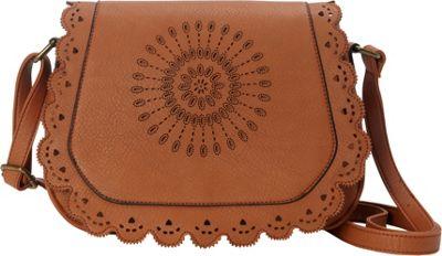 nu G Laser Cut Flap Cross Body Brown - nu G Manmade Handbags