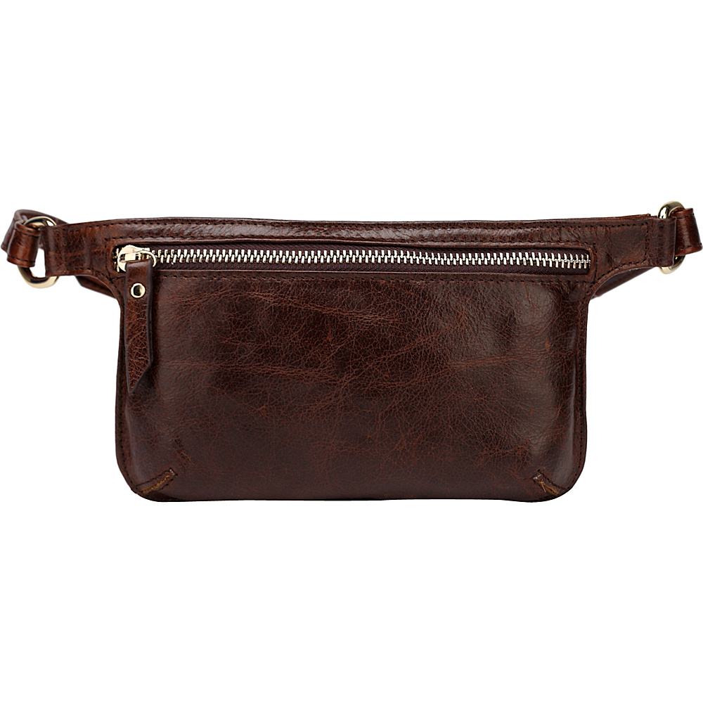 Vicenzo Leather Mibel Distressed Leather Waist Pack Crossbody Dark Brown Vicenzo Leather Waist Packs