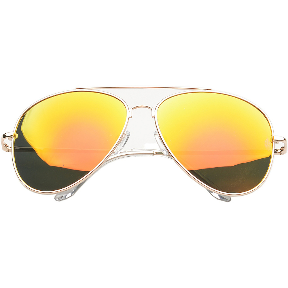 SW Global Eyewear Knoxville Double Bridge Aviator Fashion Sunglasses Orange - SW Global Sunglasses - Fashion Accessories, Sunglasses