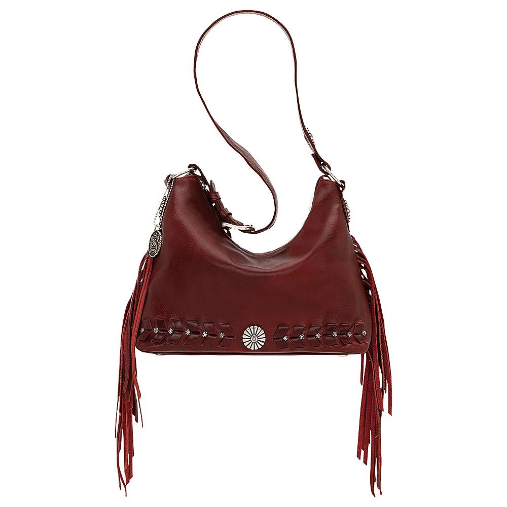 American West River Ranch Slouch Zip Top Shoulder Bag Garnet American West Leather Handbags