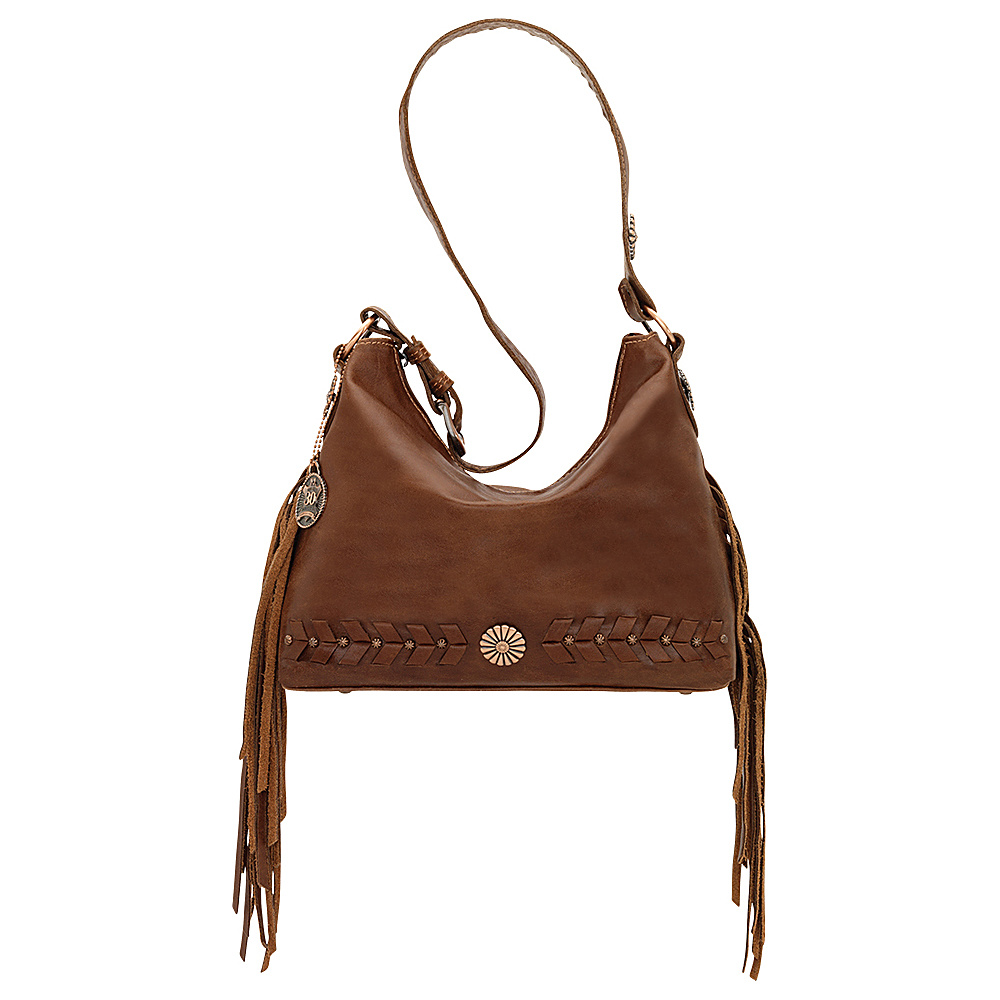 American West River Ranch Slouch Zip Top Shoulder Bag Tobacco American West Leather Handbags