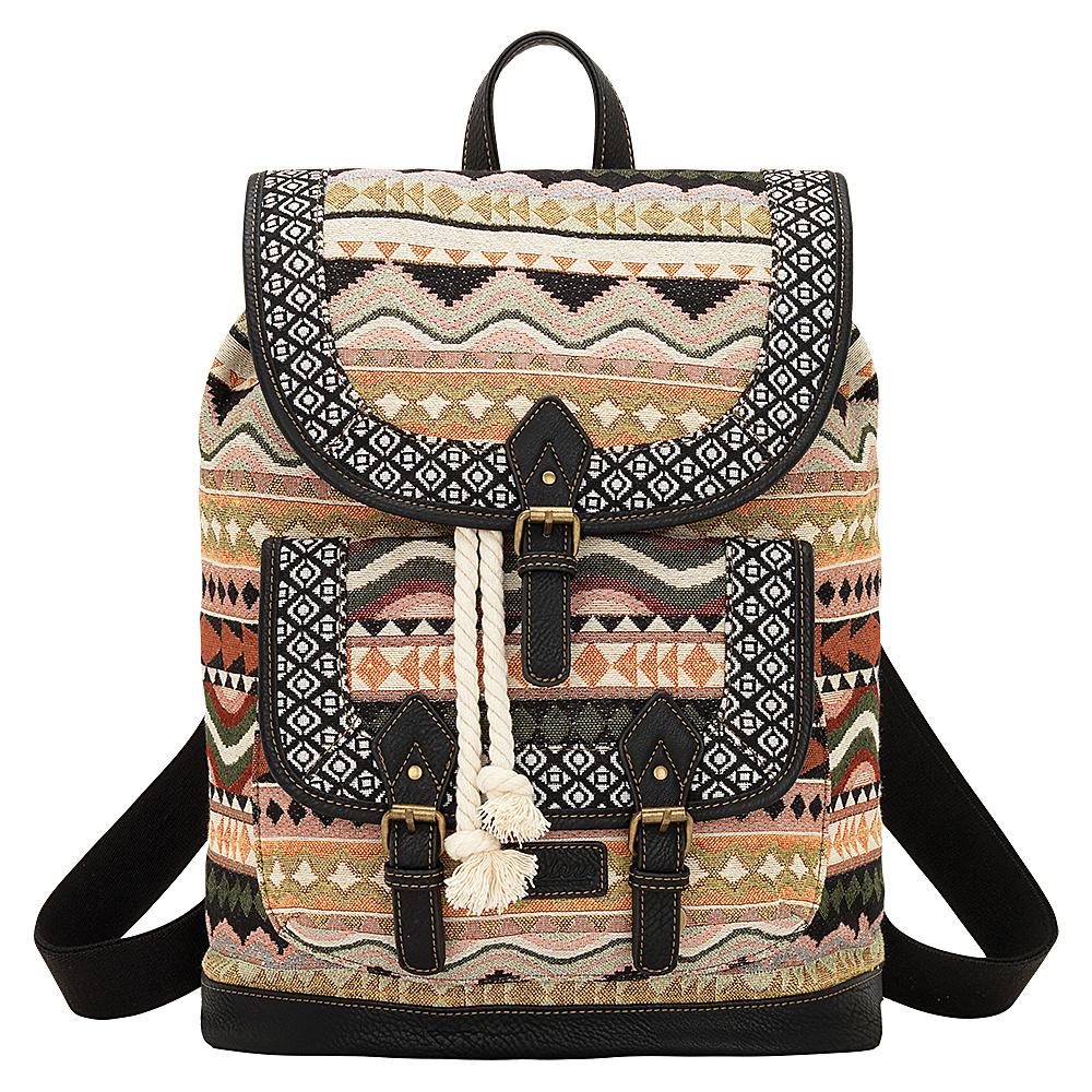 Bandana Santa Fe Back Pack Multi Color Black Bandana Manmade Handbags