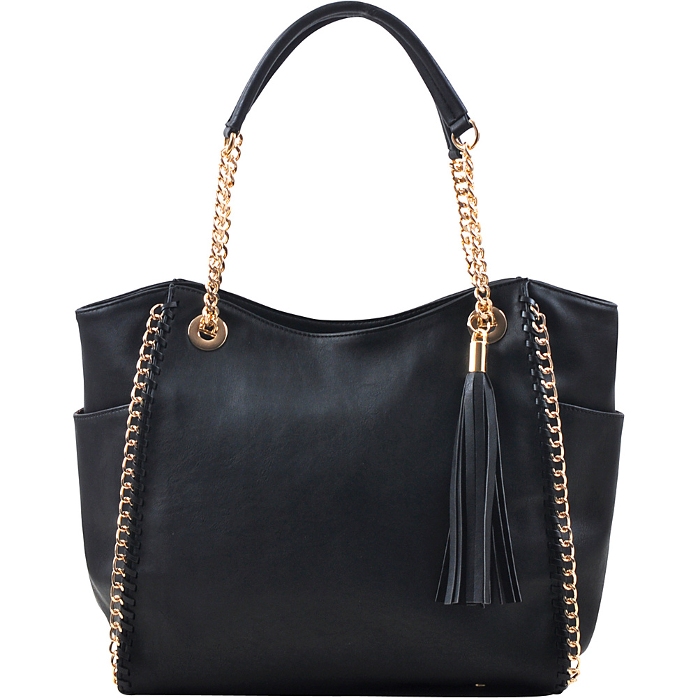 Dasein Faux Leather Chain Link Tote Bag Black - Dasein Manmade Handbags - Handbags, Manmade Handbags