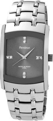 Armitron Mens Swarovski Crystal Dial Dark Silver-Tone Bracelet Watch Silver - Armitron Watches
