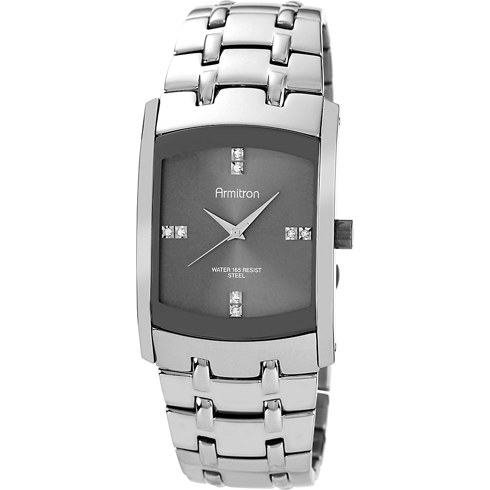 Armitron Mens Swarovski Crystal Dial Dark Silver Tone Bracelet Watch Silver Armitron Watches