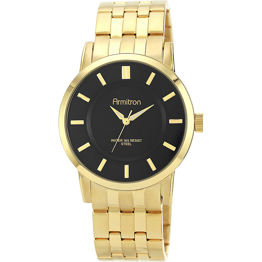 Armitron Mens Black Sunray Dial Gold Tone Bracelet Watch Gold Armitron Watches
