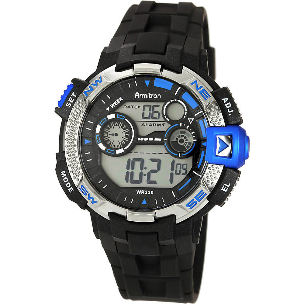 Armitron Sport Mens Metallic Blue Accented Black Resin Strap Digital Chronograph Watch Blue Armitron Watches