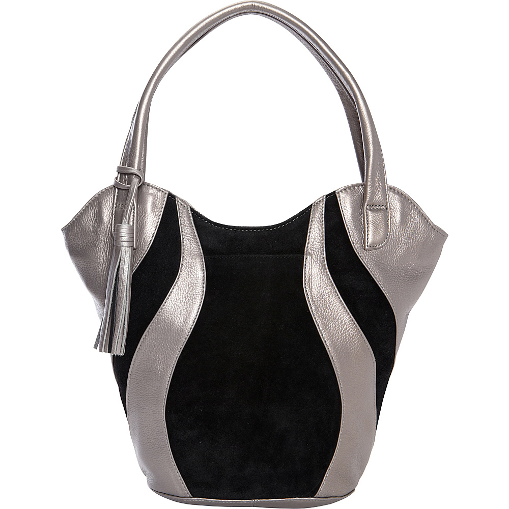 Derek Alexander Double Handle Shoulder bag Silver/Black - Derek Alexander Leather Handbags - Handbags, Leather Handbags