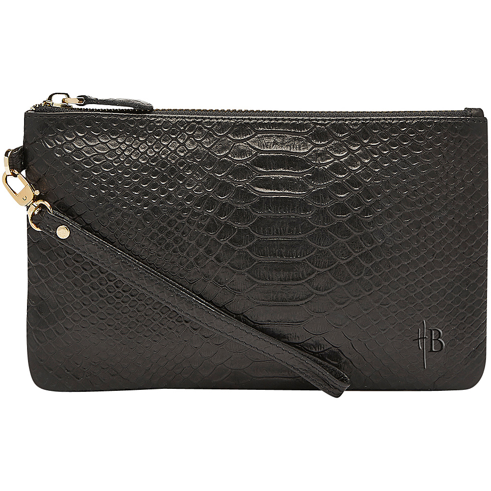 HButler The Mighty Purse Phone Charging Wristlet Reptile Reptile Black HButler Leather Handbags