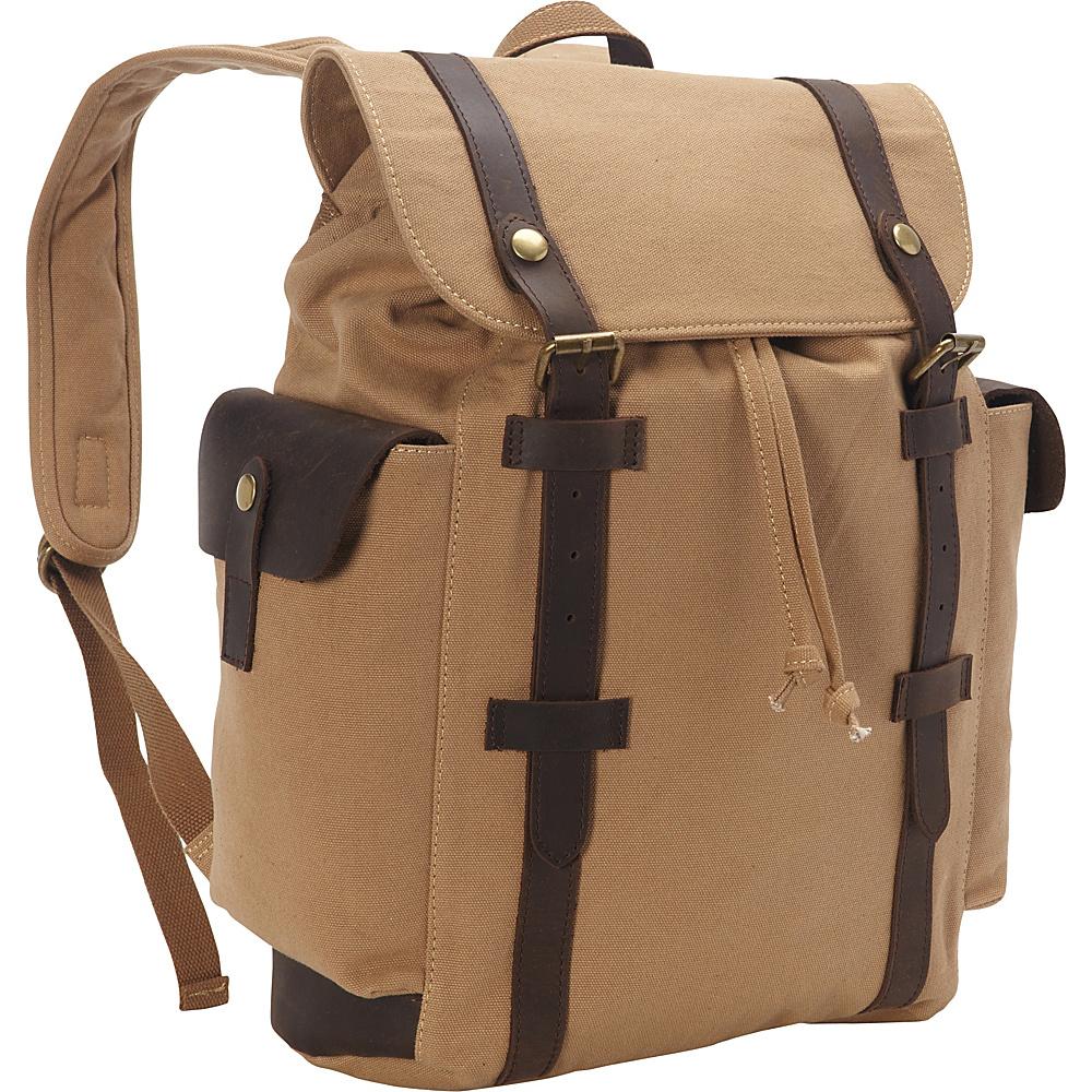 Vagabond Traveler Stylish Canvas Laptop Backpack Khaki - Vagabond Traveler Business & Laptop Backpacks - Backpacks, Business & Laptop Backpacks