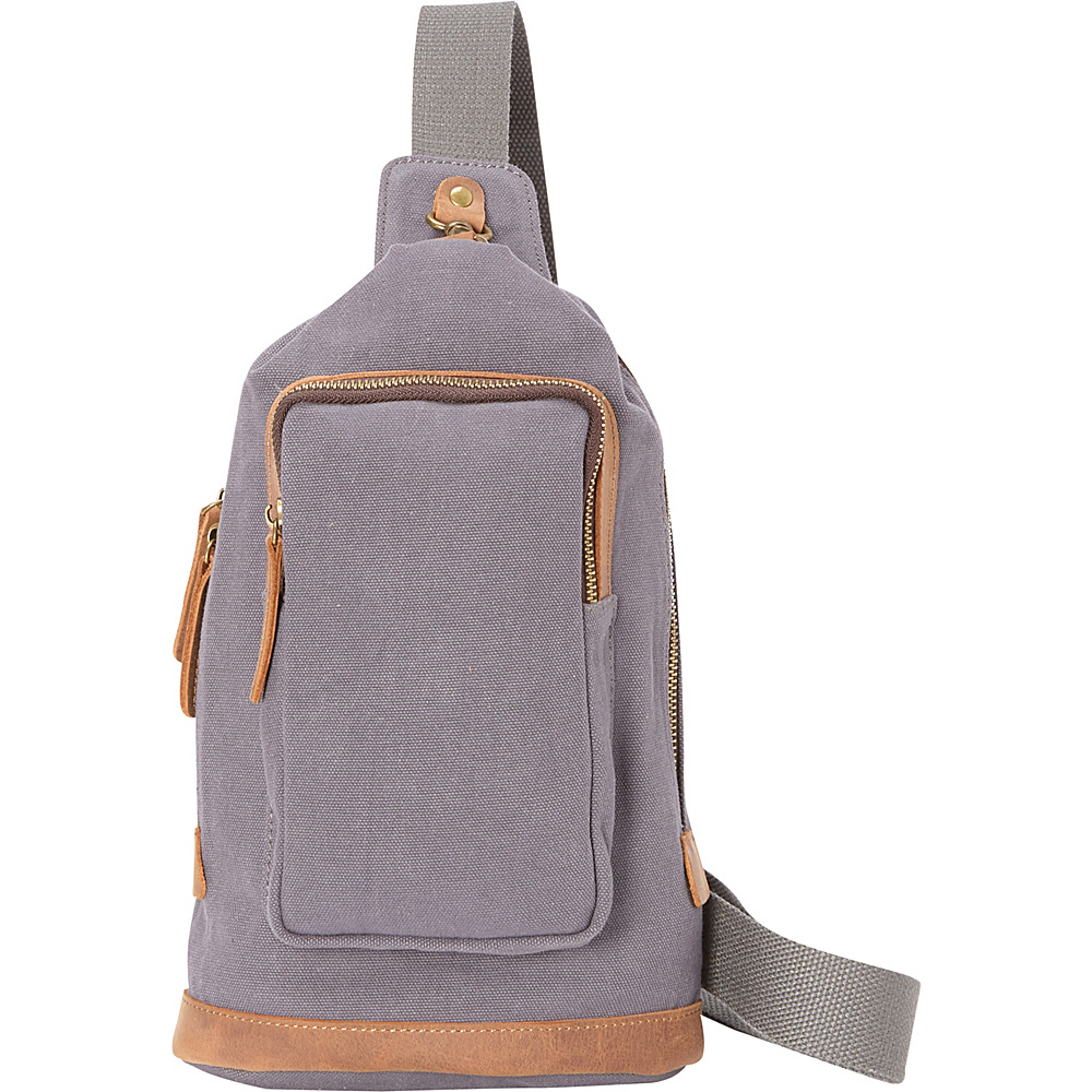 Vagabond Traveler Cotton Canvas Chest Pack Travel Bag Blue Grey - Vagabond Traveler Waist Packs - Backpacks, Waist Packs