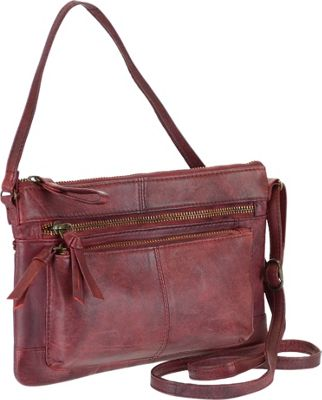R & R Collections Genuine Leather Crossbody Bag With Front Two Zip Pockets Red - R & R Collections Leather Handbags