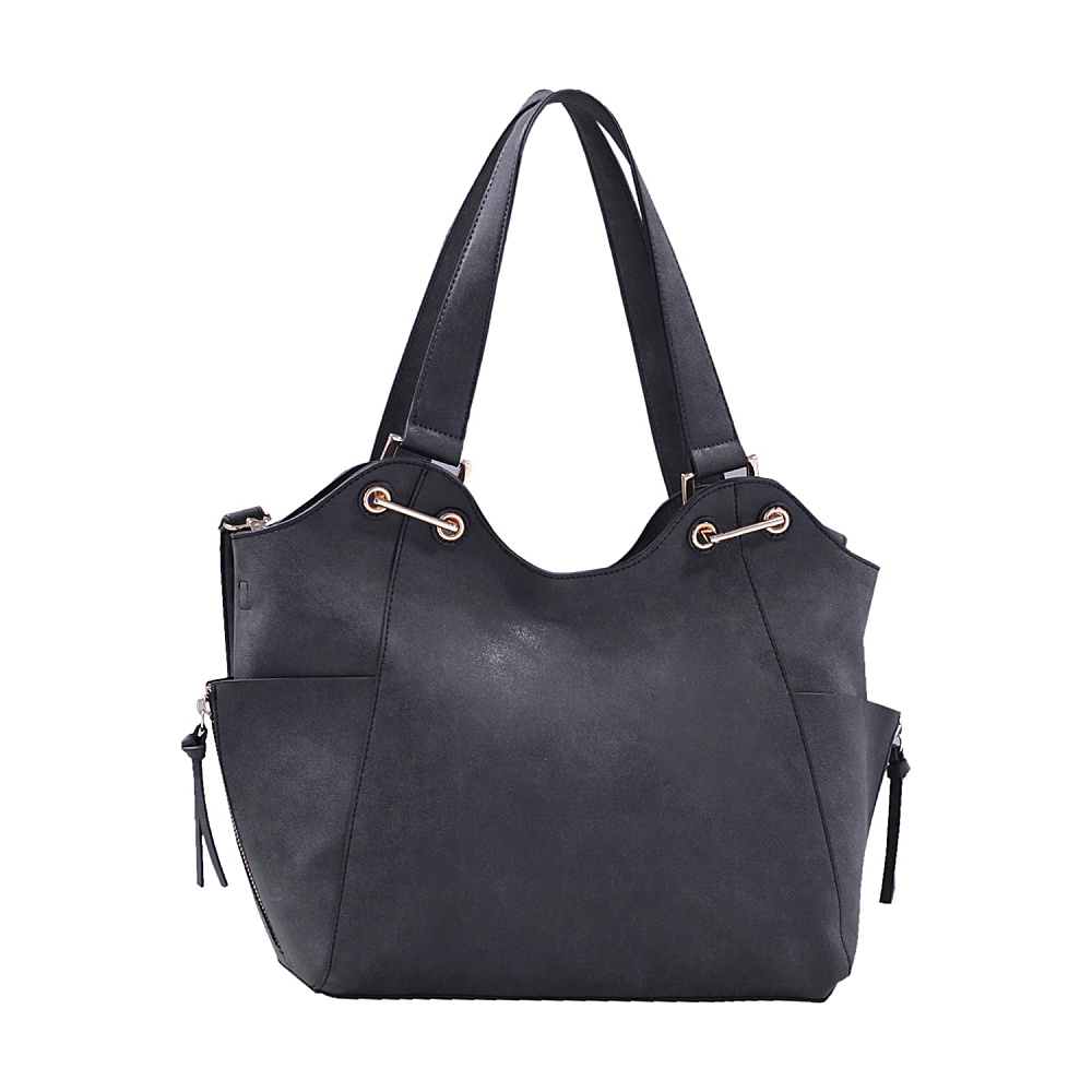 MKF Collection Minka Designer Tote and Cosmetic Pouch Black - MKF Collection Manmade Handbags